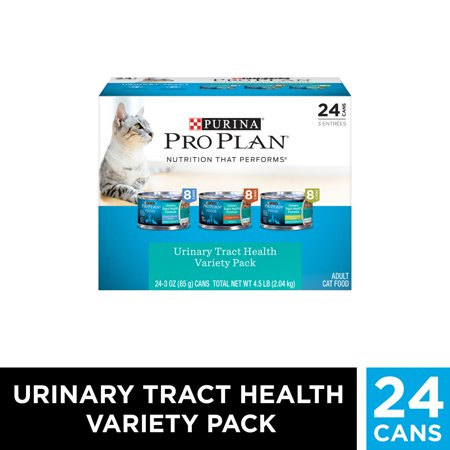 (24 Pack) Purina Pro Plan Urinary Tract Health Wet Cat Food Variety Pack, FOCUS Urinary Tract Health Formula, 3 oz. Cans ()