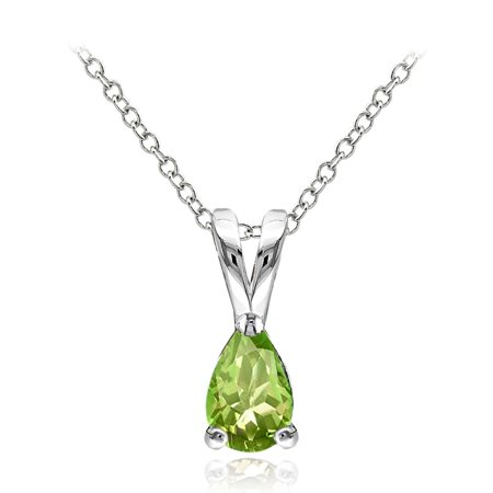 Sterling Silver Peridot 6x4mm Teardrop Solitaire Necklace