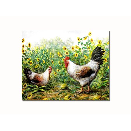 Rooster Chickens in Sunflowers #1 Wall Picture 8x10 Art Print