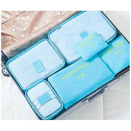 Bon Bonito Packing Cubes 6 Piece Set Fits for Luggage Travel Carry On Clothes Storage Bags, Organizer (Clark Packing Cube)
