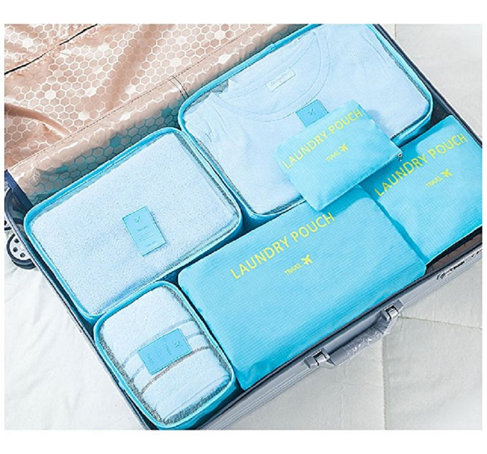 6pc Traveling Packing Cubes Clothes Storage Bags, with a Free cosmetic bag compartment, Luggage Organizer pouch.