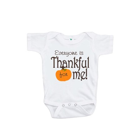 Custom Party Shop Baby Boy's Everyone is Thankful for Me Onepiece - Orange and Brown / 6-12 Month Onepiece - Custom For Baby