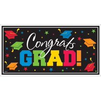 "Amscan ""Congrats Grad"" Graduation Banner, Party Supplies and Decorations  Large, 65 x 33.5, Horizontal, Plastic, Multicolor"