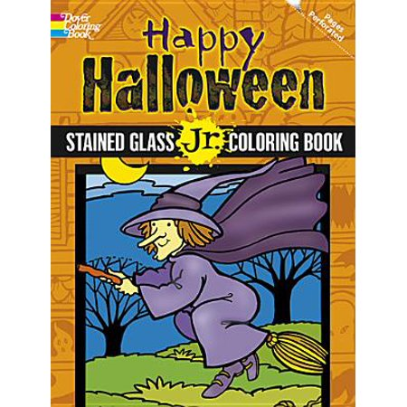 Happy Halloween Stained Glass Jr. Coloring - Stained Glass Halloween Cookies