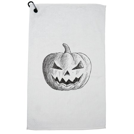 Artistic Evil Halloween Pumpkin Sketch Golf Towel with Carabiner Clip](Evil Halloween Pumpkin)