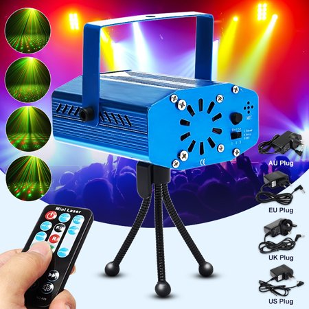 Aluminum Xmas Mini R&G  Automatic/ Sound Activated DJ Disco Party LED Laser Stage Light Projector Remote for $<!---->