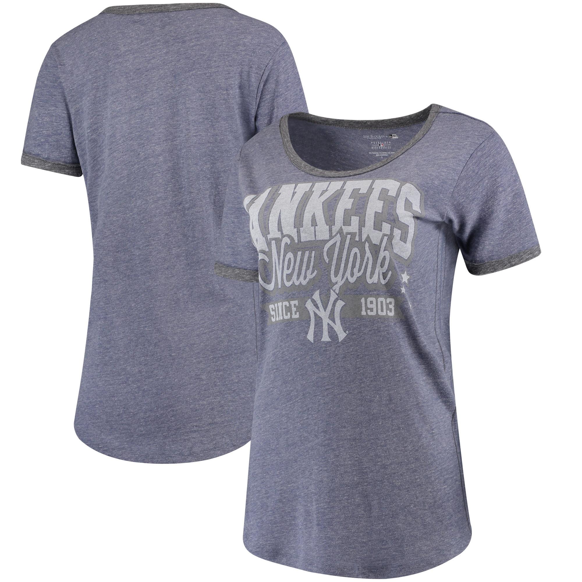 New York Yankees 5th & Ocean by New Era Women's Jersey Ringer Tri-Blend T-Shirt - Navy/Charcoal