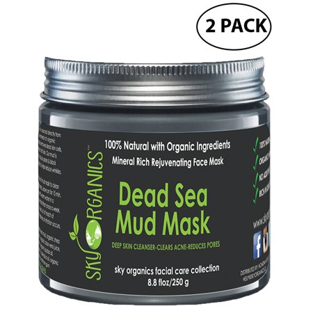 Dead Sea Mud Mask by Sky Organics For Face, Acne, Oily Skin & Blackheads - Best Pore Minimizer & Pores Cleanser Treatment - Natural & Organic Mud Mask For Younger Looking Skin 8.8oz (2 (Best Products For Pores And Blackheads)