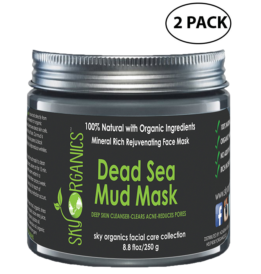 Dead Sea Mud Mask by Sky Organics For Face, Acne, Oily Skin & Blackheads - Best Pore Minimizer & Pores Cleanser Treatment - Natural & Organic Mud Mask For Younger Looking Skin 8.8oz (2 pack)
