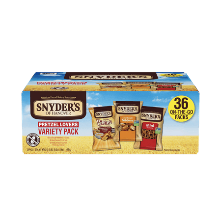 Snyder's of Hanover Pretzel Lovers Variety Pack, Three Flavors, Single-Serve 36 Ct (Halloween Pretzel Snack Bags)