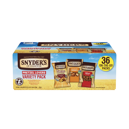 Snyder's of Hanover Pretzel Lovers Variety Pack, Three Flavors, Single-Serve 36 Ct](Halloween Pretzel Snack Mix)