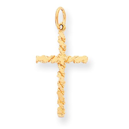 10k Yellow Gold NUGGET Cross Charm - .9 Grams