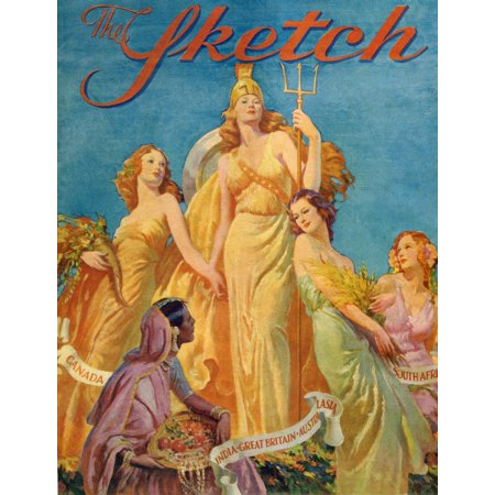 Front cover from The Sketch magazine special coronation number published 1937  Depicting Britannia surrounded by the female personifications of CanadaIndiaAustralia and South Africa Poster Print by Hi ()