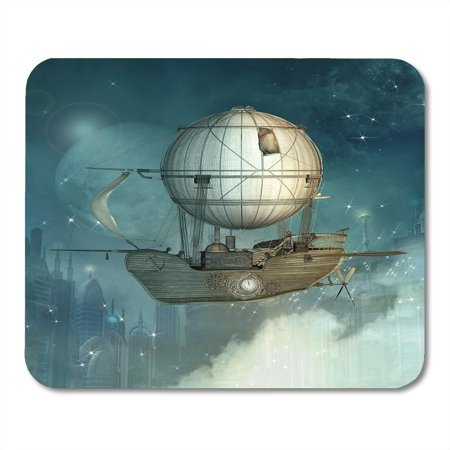 KDAGR Blue Airship Steampunk Fantasy Vessel Flies in The Sky Over Futuristic Town 3D Balloon Mousepad Mouse Pad Mouse Mat 9x10 (Futuristic Steampunk)