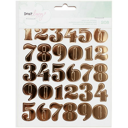 Dear Lizzy Fine & Dandy Sticker Book, 6/Pages, Gold Foil Numbers, Hearts & Circles (Number Stickers)