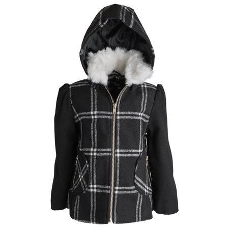 Rothschild Big Girls Wool Look Winter Dress Pea Coat Jacket with Detachable Hood](Peacoat For Girls)