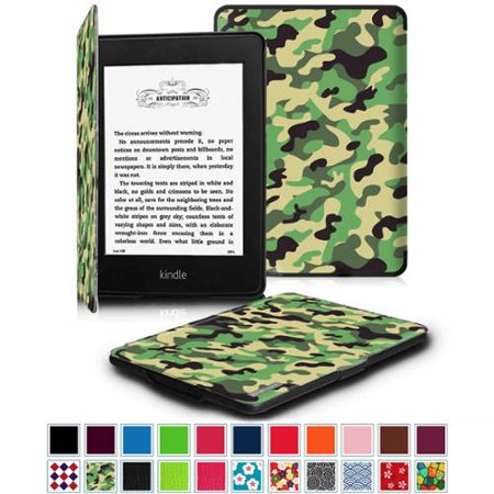 All-New Amazon Kindle Paperwhite SmartShell Case - Fintie The Thinnest and  Lightest Leather Cover, Camo Green