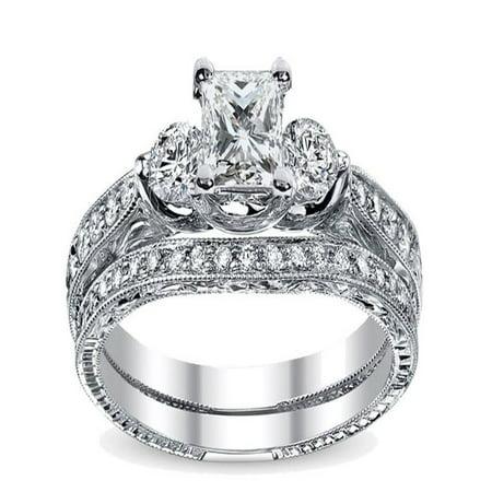 35e94b13b JeenJewels - Luxurious Vintage Matching wedding Ring set 1 Carat Princess  Cut Diamond on 10k Gold - Walmart.com