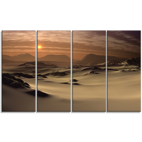 Design Art 'Beautiful Brown Fantasy Terrain' 4 Piece Photographic Print on Wrapped Canvas Set