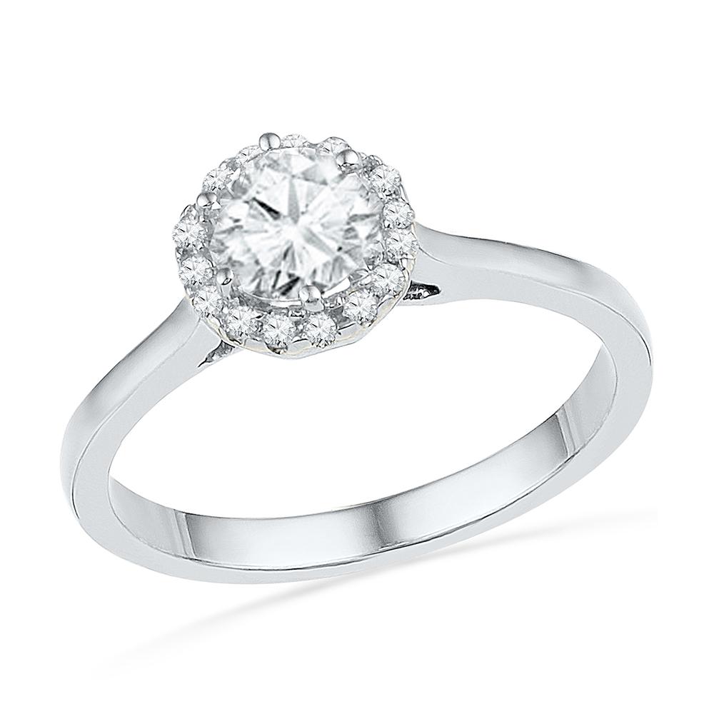 Diamond Engagement Ring, 10k White Gold Ring