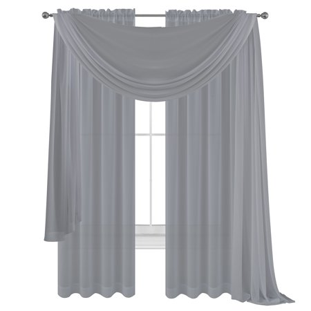 3 Piece Silver Grey Sheer Voile Curtain Panel Set: 2 Purple Panels and 1 Scarf… ()