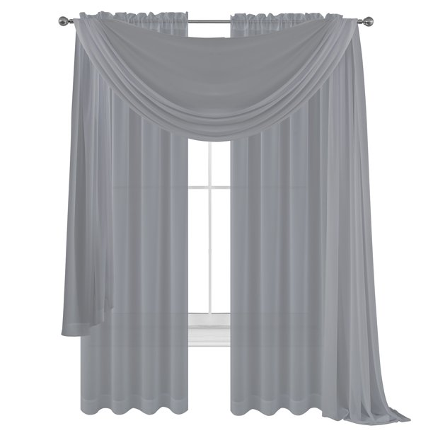 3 Piece Silver Grey Sheer Voile Curtain