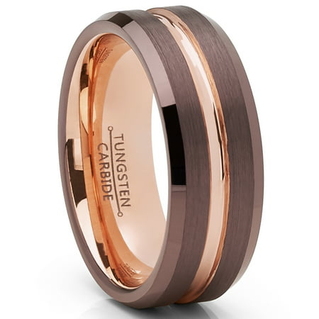Chocolate Wedding Ring (Men's Ring Wright Co. Chocolate Brown and Rose GoldTone Tungsten Carbide Wedding Band Ring)