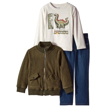Kids Headquarters Infant Toddler Boys 3 Piece Dinosaur Shirt Pants Jacket Jacket Top Skirt Pants