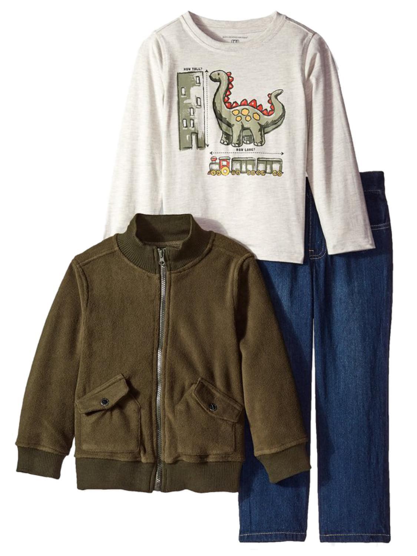 Kids Headquarters Infant Toddler Boys 3 Piece Dinosaur Shirt Pants Jacket