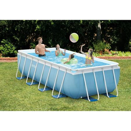 "Intex 16 x 8 x 42"" prism frame rectangular above ground pool with filter pump"