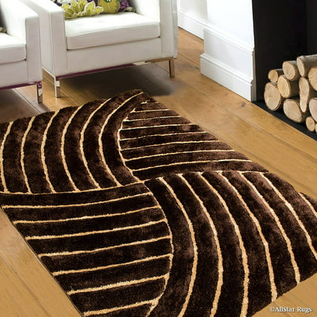 Allstar Brown Shaggy Area Rug with 3D Design with Lines. Contemporary Formal Hand Tufted (5' x 7')