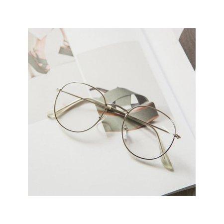 Lavaport Fashion Unisex Retro Round Flat Thin Metal Rim (Thin Wire Rim Glasses)