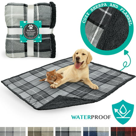 PetAmi Waterproof Dog Blanket for Bed Couch Sofa | Warm Sherpa Pet Throw Blanket | Super Soft Microfiber Fleece | Reversible Design for Puppy and Large Pet (Dog Fleece House)