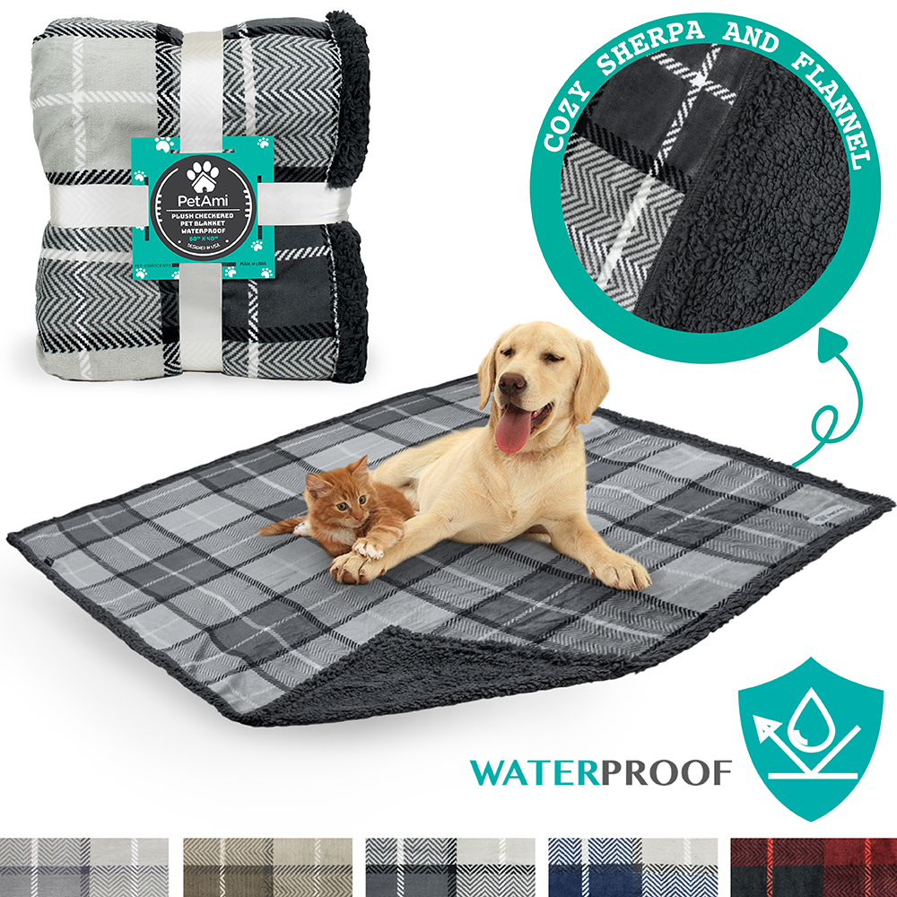PetAmi Waterproof Dog Blanket for Bed Couch Sofa | Warm Sherpa Pet Throw Blanket | Super Soft Microfiber Fleece | Reversible Design for Puppy and Large Pet Dog