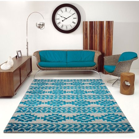 Ladole Rugs Turquoise Ivory Blue Shaggy Area Rug For