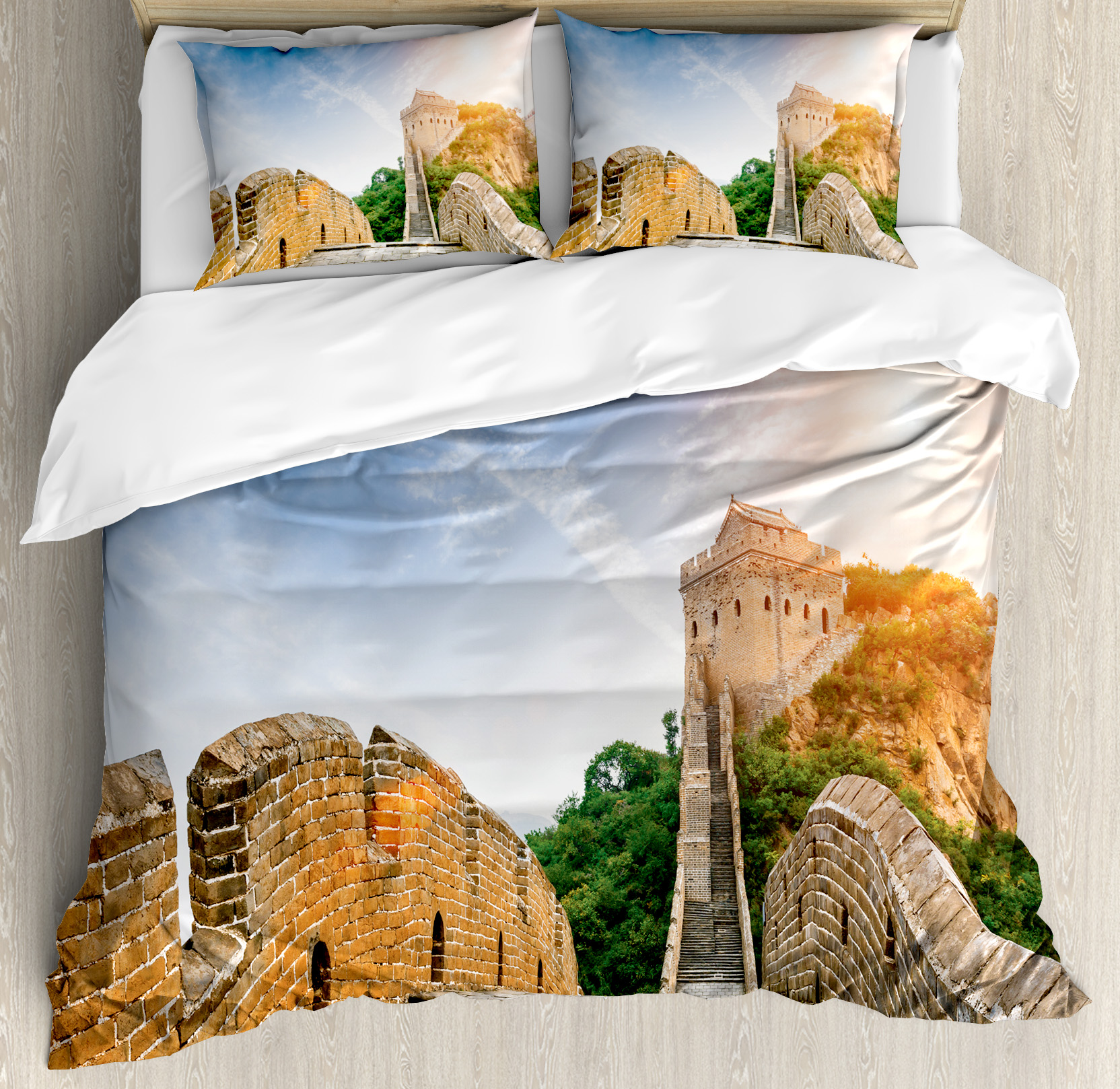 Great Wall of China King Size Duvet Cover Set, Legendary Dynasty Monument on Cliffs Historical Countryside Art Design, Decorative 3 Piece Bedding Set with 2 Pillow Shams, Grey Blue, by Ambesonne