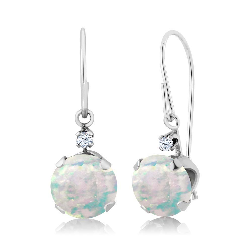 1.33 Ct Round Cabochon White Simulated Opal 14K White Gold Earrings