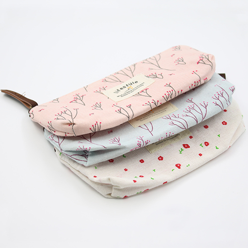 Micelec Floral Canvas Pencil Pen Case Cosmetic Makeup Tool Bag Storage Pouch Purse