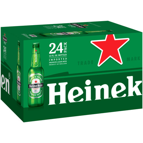 Heineken Lager Beer, 12 fl oz, 24 pack