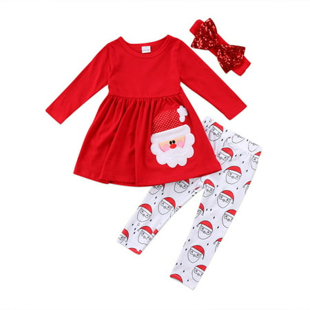 3pcs Baby Girls Christmas Outfits Long Sleeve Dress Top With Santa Claus Pant And Headband 4-5 Year - Baby Girl Santa Suit
