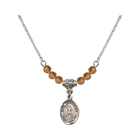 18-Inch Rhodium Plated Necklace with 4mm Yellow November Birth Month Stone Beads and Saint Christopher/Football Charm](Football Bead Necklace)