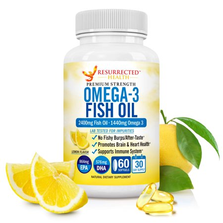 Omega 3 Fish Oil - 2400mg - Premium Strength Burpless Lemon Flavor Softgels - No Fishy Aftertaste - Promotes Brain & Heart Health - Essential Fatty Acid w/High Amounts of Epa &
