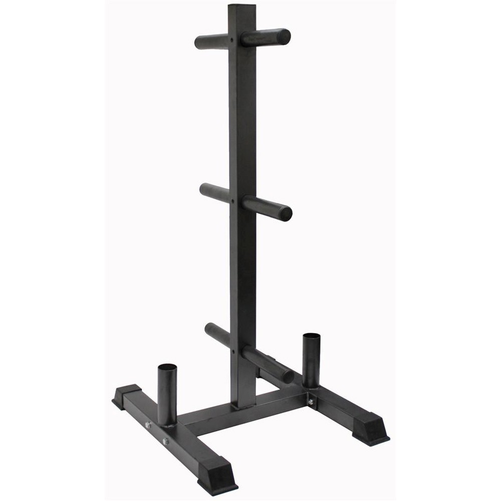 Troy Bumper Olympic 2 Plate Tree with 2 Bar Holders by USA Sports Inc (Troy Barbell, VTX)