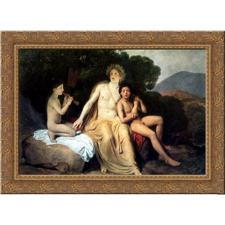 Apollo  Hyacinthus And Cyparis Singing And Playing 24X18 Gold Ornate Wood Framed Canvas Art By Alexander Ivanov