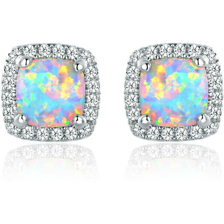 Lab Created Fire Opal 18kt White Gold-Plated Stud Earrings