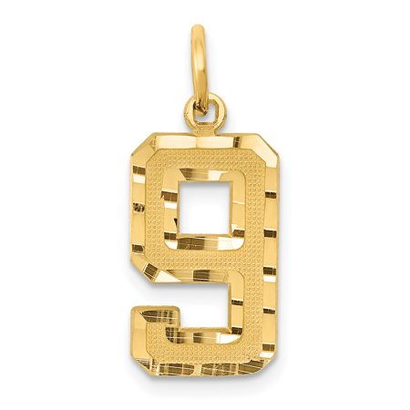 14K Yellow Gold 14ky Casted Medium Diamond Cut Number 9 Charm - image 2 de 2
