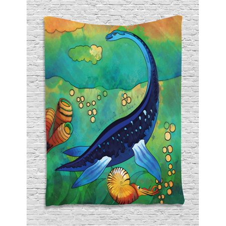 Dinosaur Tapestry, Ancient Wild Sea Creature Plesiosaurus in Its Underwater Habitat, Wall Hanging for Bedroom Living Room Dorm Decor, 40W X 60L Inches, Jade Green Navy Blue Orange, by Ambesonne