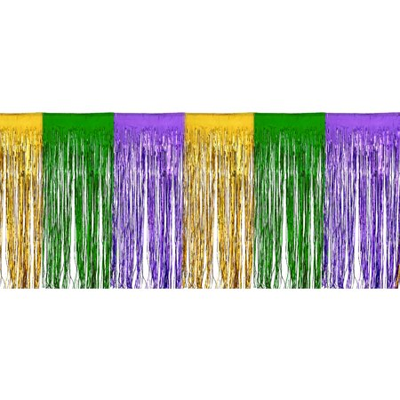 Amscan Mardi Gras Fringe Bunting, Carnival Party Supplies and Decorations, Plastic, 15' W x 10