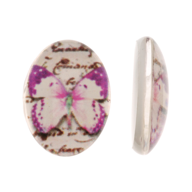 Tempered Glass Oval Cabochons Hot Pink And Purple Butterfly 13x18mm (4)