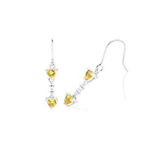 Oravo Heart Cut Gemstone Dangling Earrings Sterling Silver
